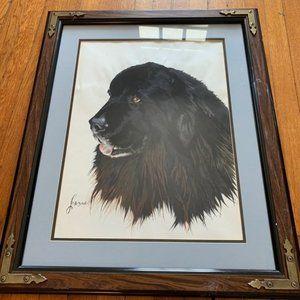 Large Hand Painted Dog Portrait Framed